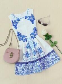 Fit & Flare Kleid mit Porzellenmuster