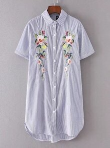 Robe asymétrique à rayures verticaux avec imprimé fleur