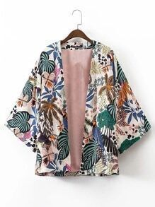 kimono avec des impressions ouvrir avant