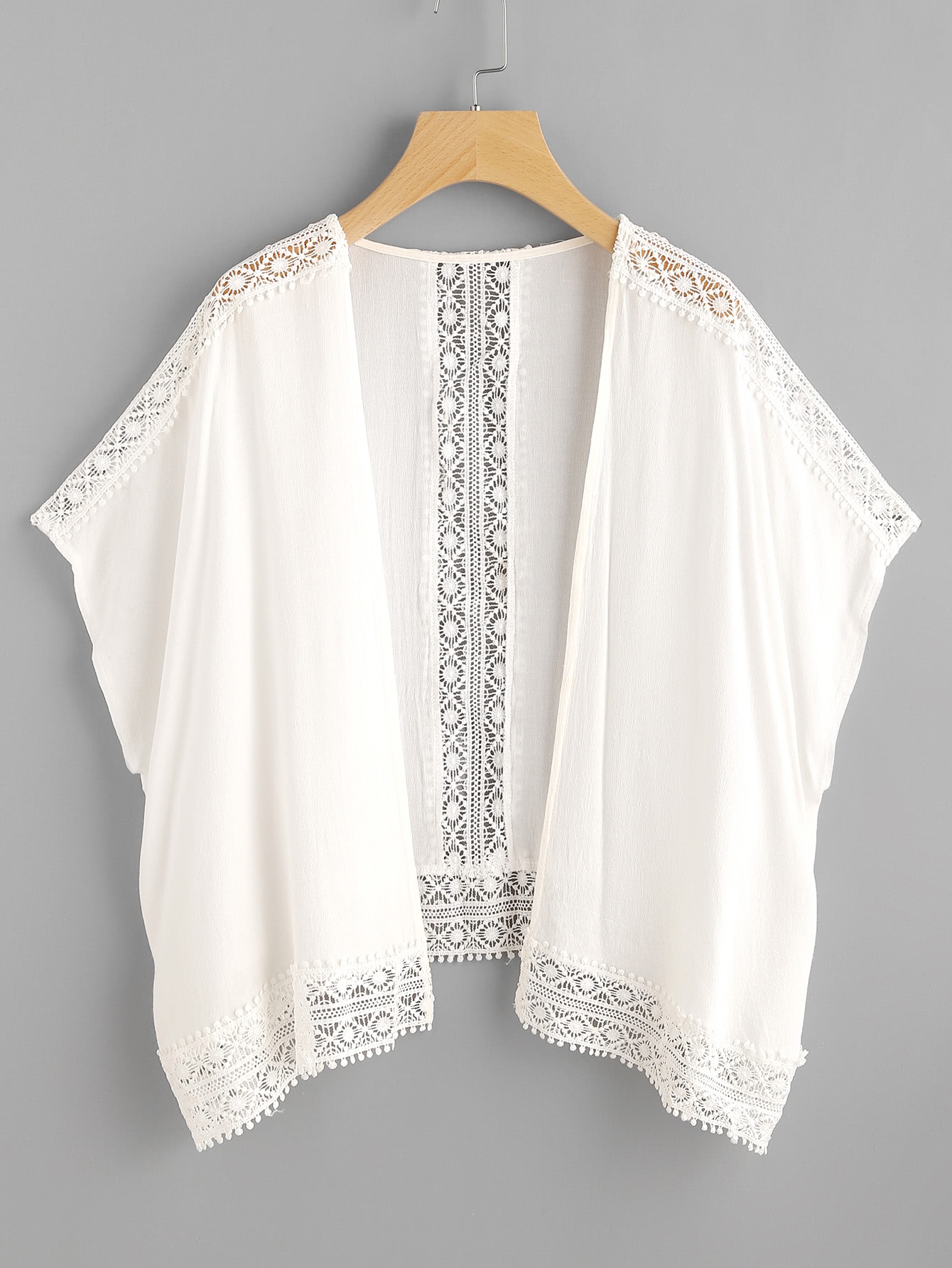Hollow Out Contrast Crochet Lace Top
