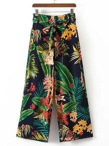 Tropical Print Tie Waist Wide Leg Pants