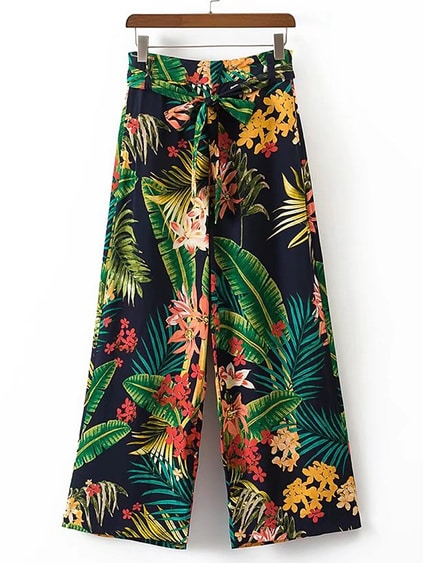Tropical Print Tie Waist Wide Leg Pants