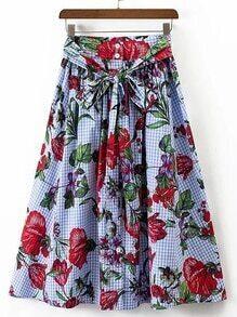 Tie Waist Grid A Line Skirt