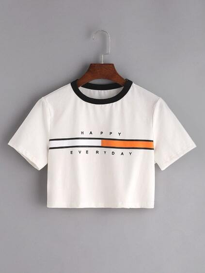 White Graphic Print Contrast Neck Crop T-shirt