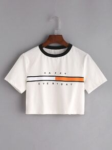 White Graphic Print Contrast Neck Crop T-shirt