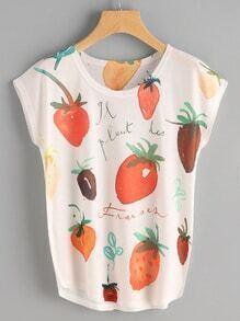 T-Shirt mit Kappeärmeln und Obstmuster