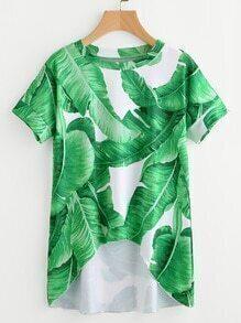 Tee-shirt trapèze imprimé des palmes