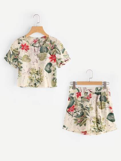 Top corto de espalda con abertura con estampado tropical con shorts
