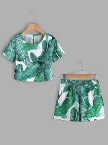 Palm Leaf Print Keyhole Back Top With Shorts