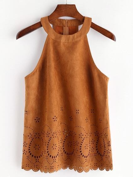 Laser Cut Out Halter Neck Suede Top