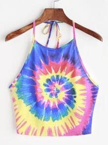 Halter-Top mit Muster Tie-Dye - Multicolor