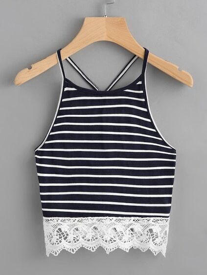 Contrast Crochet Hem Striped Cami Top