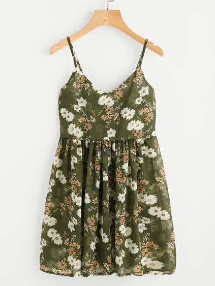 Botanical Print Pleated Cami Sun Dress