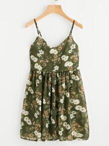 Botanical Print Pleated Cami Sun Dress