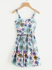 Chrysanthemum Print Pleated Cami Dress
