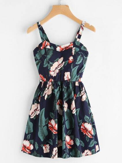 Random Jungle Print A-Line Cami Dress