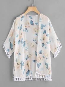 Floral Print Tassel Trim Kimono