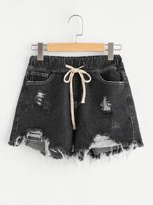 Raw Hem Drawstring Waist Denim Shorts