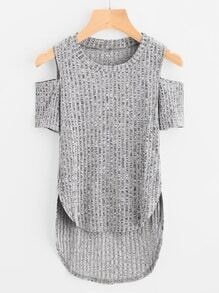 Open Shoulder Dip Hem Ripped Tee
