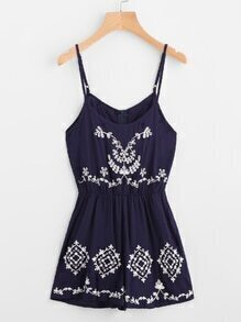Flower Embroidered Cami Romper With Zipper Back