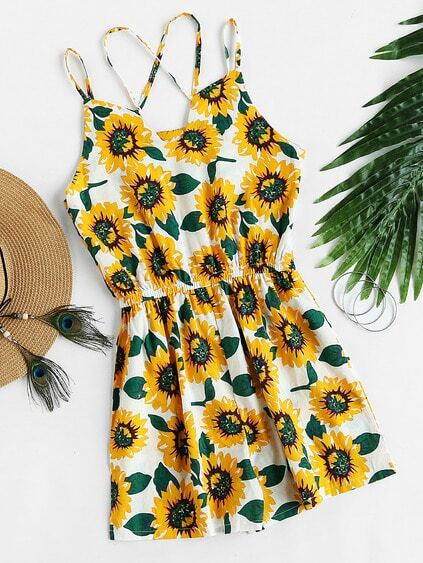 Sunflower Allover Print Double Strap Blouson Romper