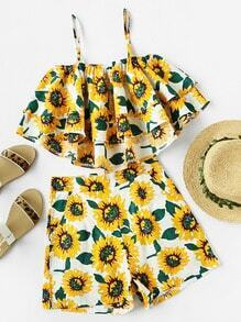 Sunflower Print Tiered Frill Cami Top With Shorts