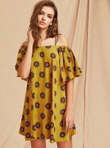 Tile Print Cold Shoulder Dress