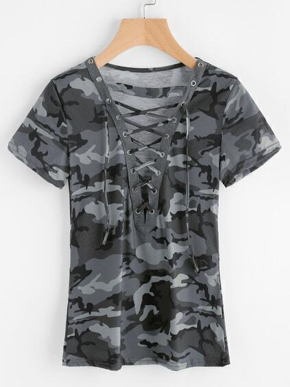 Camo Print Lace Up Front Tee