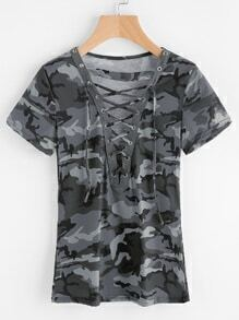 Tee-shirt imprimé à lacets