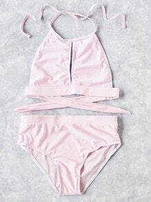 Cutout Front High Waist Halter Bikini Set