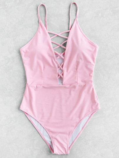 Criss Cross Deep V Neck Swimsuit