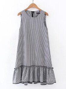 Drop Waist Frill Trim Tie Back Grid Dress