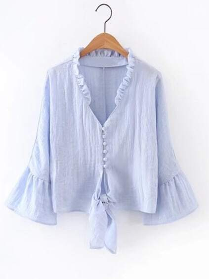 Bell Sleeve Frill Trim Knot Front Blouse