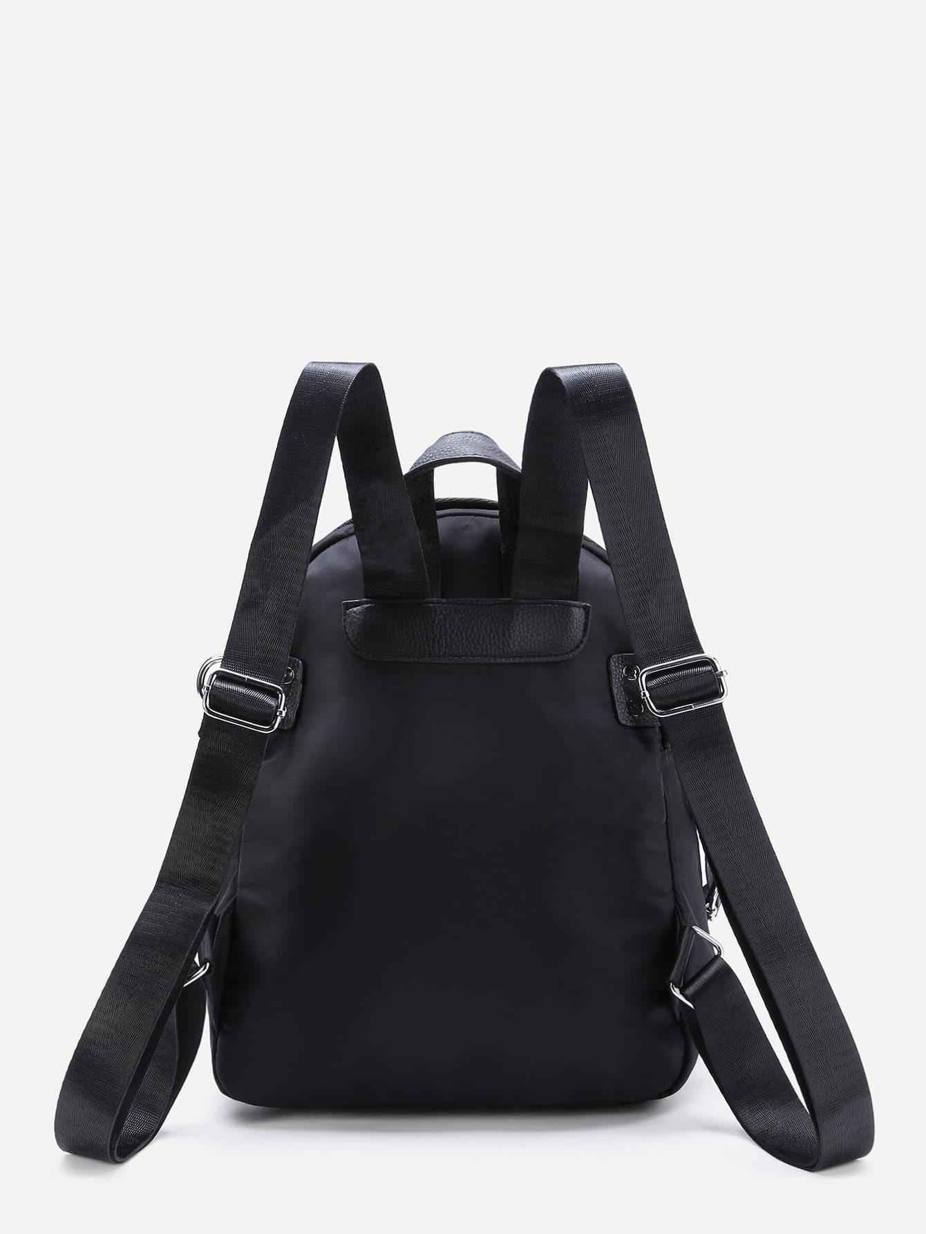 sac dos d coratif avec bracelet convertible et franges french romwe. Black Bedroom Furniture Sets. Home Design Ideas