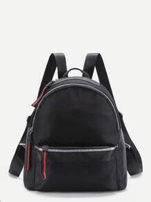 Zipper Front Nylon Backpack