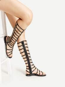 Zipper Side PU Gladiator Sandals