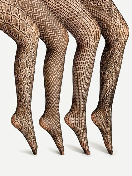 Mixed Pattern Tights 4 Pairs