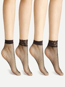 Lace Cuff Fishnet Ankle Socks 4 Pairs