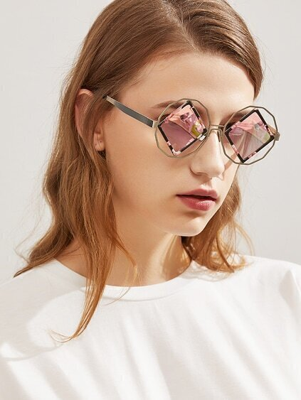 Square Mirror Lens Cutout Sunglasses