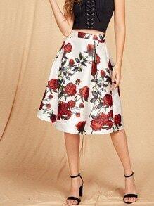 Jupe imprimée des roses avec le zip et des plis