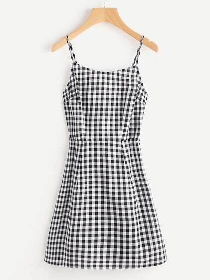 Lace Up Back Princess Seam Gingham Cami Dress
