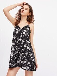 Calico Print Backless Cami Dress