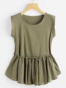 Frill Hem Self Tie Top