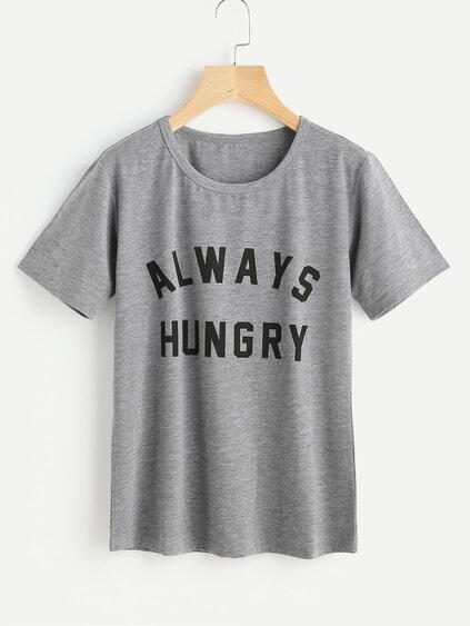 Slogan Print Slub Tshirt