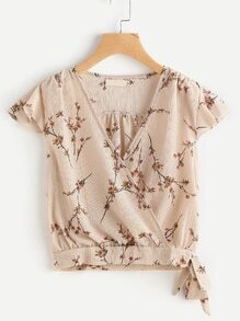 Ditsy Print Wrap Front Side Knot Blouse