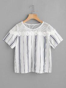 Bluse mit Streifen, Netz Einlegen und Blumenlesbie