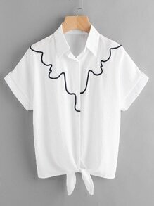 Embroidered Knotted Front Shirt