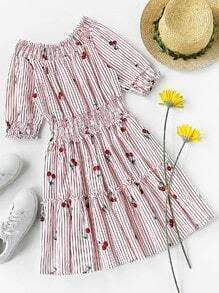 Kleid mit Falten, Kirschemuster und Streifen