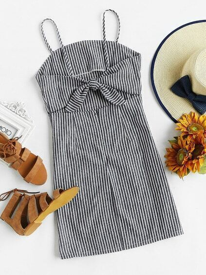 Vertical Striped Knot Open Back Cami Dress