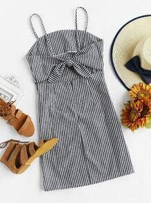 Vertical Striped Knot Open Back Cami Dress